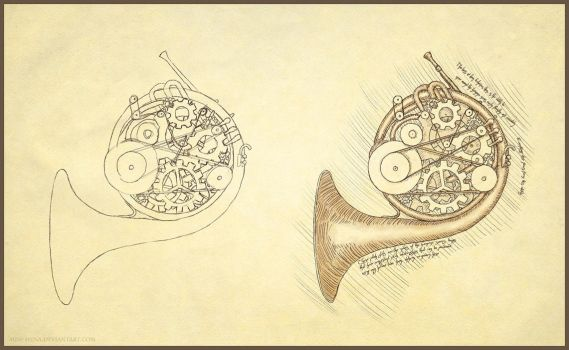 French Horn and Gears by miss-hena