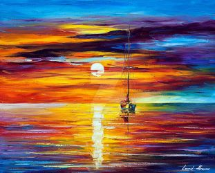 By The Sunset by Leonid Afremov by Leonidafremov