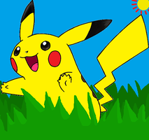 Pikachu in the grass by 0GamerEevee0