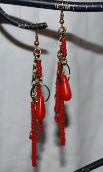 Scrap Metal Blood Red Glass Bead Earrings with Vi by Xennifer