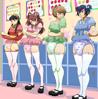 Persona 4 Girls diaper check commission. by RED-MODA