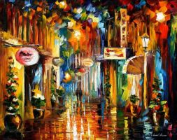Old City Street by Leonid Afremov by Leonidafremov