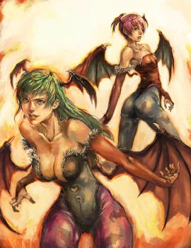 Morrigan and Lilith by longai