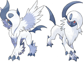 Absol And Mega Absol by Frie-Ice
