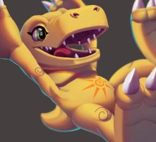 One face a day 116/365. Agumon (digimon) by Dylean