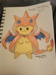 pikachu in charizard costume by HerHeartCrafts