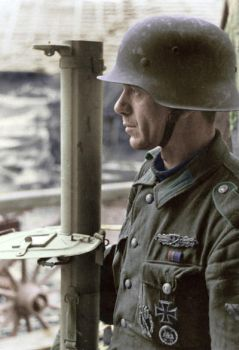 Wehrmacht soldier with Panzerschreck - colorized by OldHank