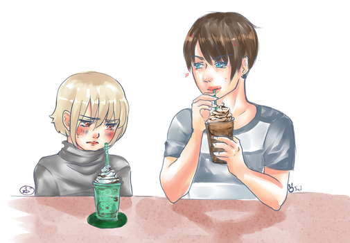 Emil and Dante with lovely frappe - Collab by Caim-The-Order