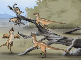 Young Dromaeosaurs Hunting by rhunevild