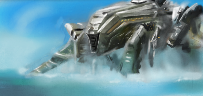 Battleship movie: alien ship emersion by buzzelliArt