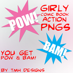 Girly Comic Book Action PNGs by frenzymcgee