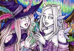 ACEO Cerise and Ena by nickyflamingo