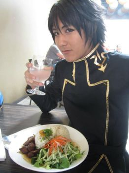 Lelouch drinking water by LoganHer