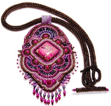Fuchsia Bollywood embroidered necklace by Britex55