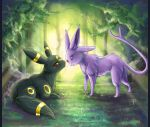 Espeon and Umbreon . commish by FionaHsieh