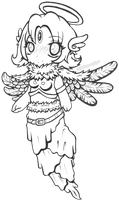 Chibi Angel Girl Lineart by spoonyliger