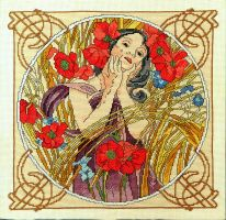 Summer - Art Nouveau hand embroidered painting by YANKA-arts-n-crafts