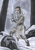 Copic Markers Rey with light saber by dekarogue