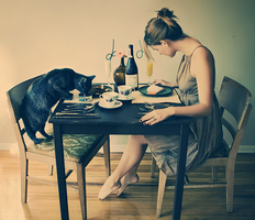 breakfast with black cat. by KatyaLivingstone