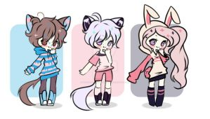 [1/3 OPEN] Adoptables Batch - Points or Paypal by WaterfallDreamAdopts