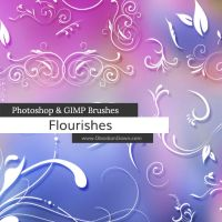 Flourishes Photoshop and GIMP Brushes by redheadstock
