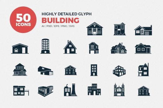 JI-Glyph Buildings Icons Set by jumboicons