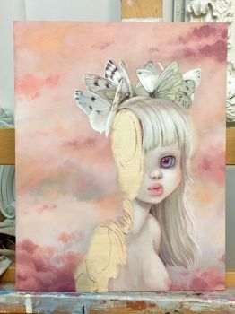 Albino girl painting in progress by camilladerrico