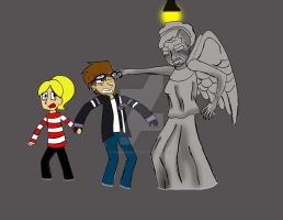 Andy and Sam VS the Weeping Angels by Punkheart11