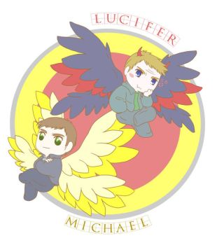 Michael and Lucifer by MugenMusouka