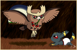 Noctowl and baby umbreon