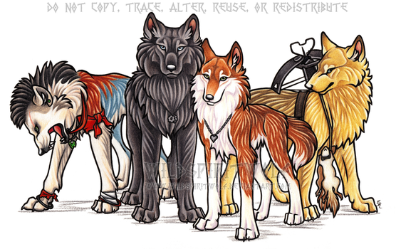 Four Wolves Commission by WildSpiritWolf