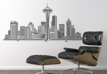 Seattle Cityscape Wall Decal Design by wall-decal-shop