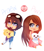 [POINT COMM.] Chibi Praew and Chibi Piwy by Vivi-Chuu