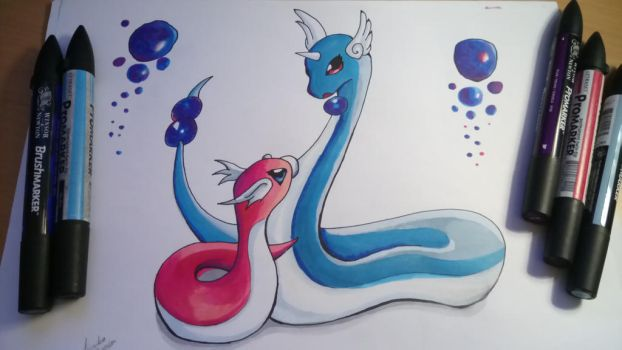 Dragonair and Shiny Dratini by KimikoGlaciem
