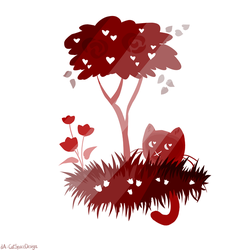 Dark Red Cat by CatSpaceDesign