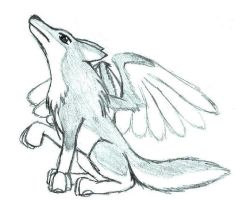 Wolf with wings by Aureawolf