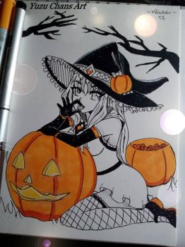 Inktober17 Day9 '' Sweet Witch Hikari '' by YuzuLuna
