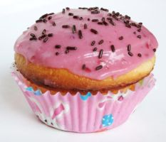 French Vanilla Cupcake with Raspberry Frosting by Kitteh-Pawz