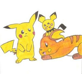 Pichu, Pikahcu, and Raichu by B-B-girl1