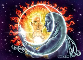 Arien and Tilion - Lovers in the Sky by IngvildSchageArt