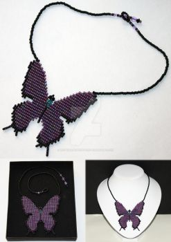 Butterfly Necklace - Amethyst and Black by WhiteMagicPriestess