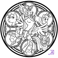 Cadance Stained Glass tattoo design -line art- by Akili-Amethyst