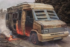 Post apocalyptic camper van by AestheticApocalypse