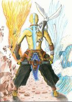 Aang and the four elements by SomeDudeWithAPen