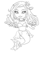 Chibi Mermaid Line art by Meeowy