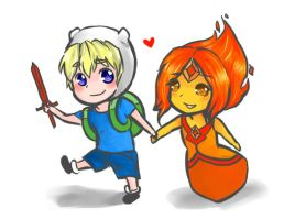 Finn x Flame Princess by sugar-doodles