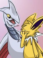 Jolteon and Skarmory by skeletall