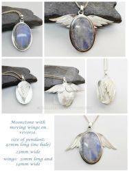 Moonstone Pendant With Moving Wings On Reverse by WallaceReg