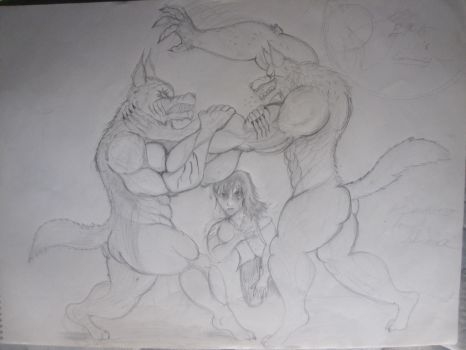 Werewolf  battle (Request for subzero2497) by KyleReyonld280