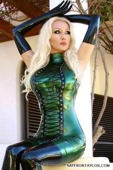 Lavish Green Latex Dress by SaffronTaylor
